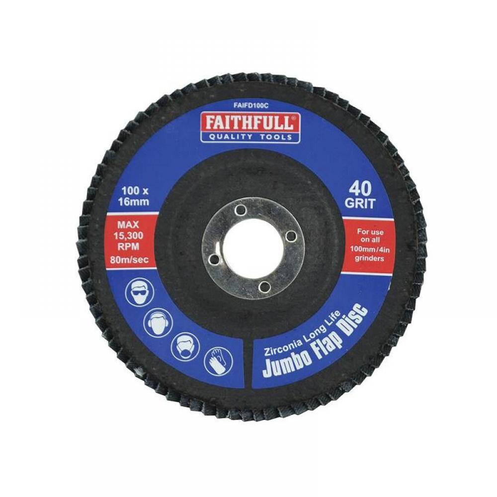 Faithfull Abrasive Jumbo Flap Disc 100mm Coarse FD100C