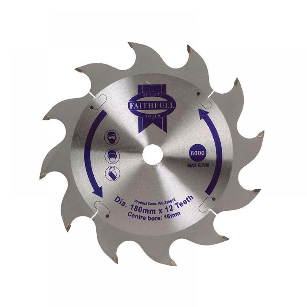 Faithfull TCT Circular Saw Blade 180 x 16mm x 12T POS