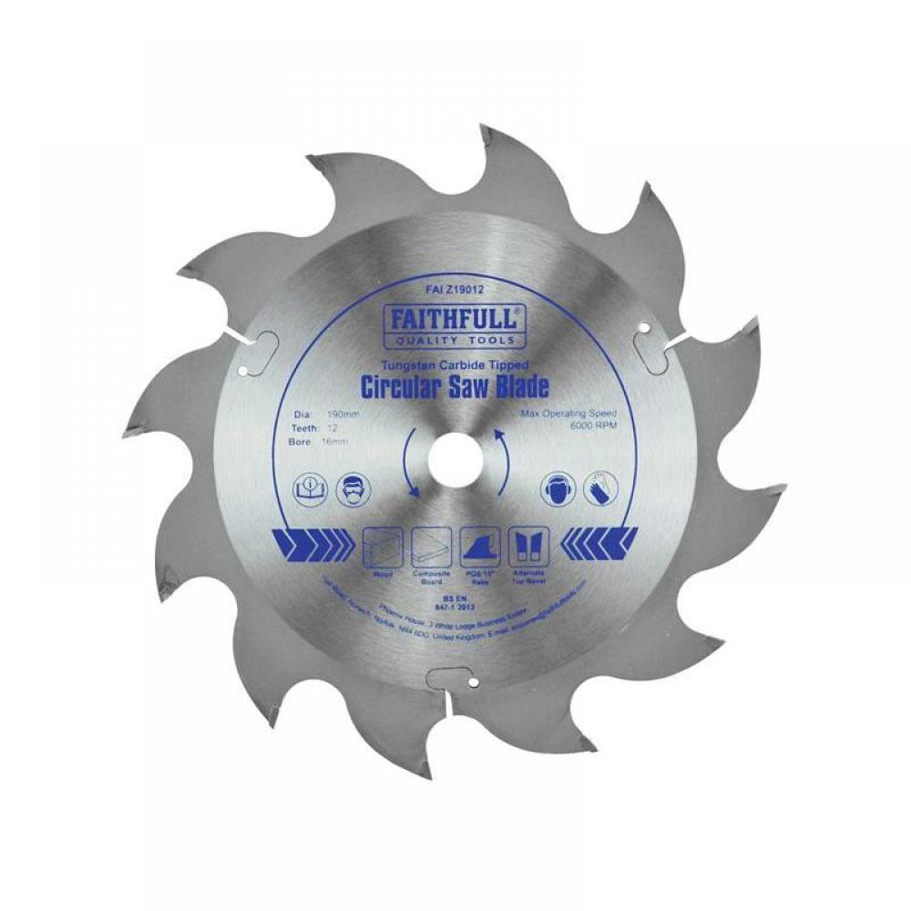 Faithfull TCT Circular Saw Blade 190 x 16mm x 12T POS