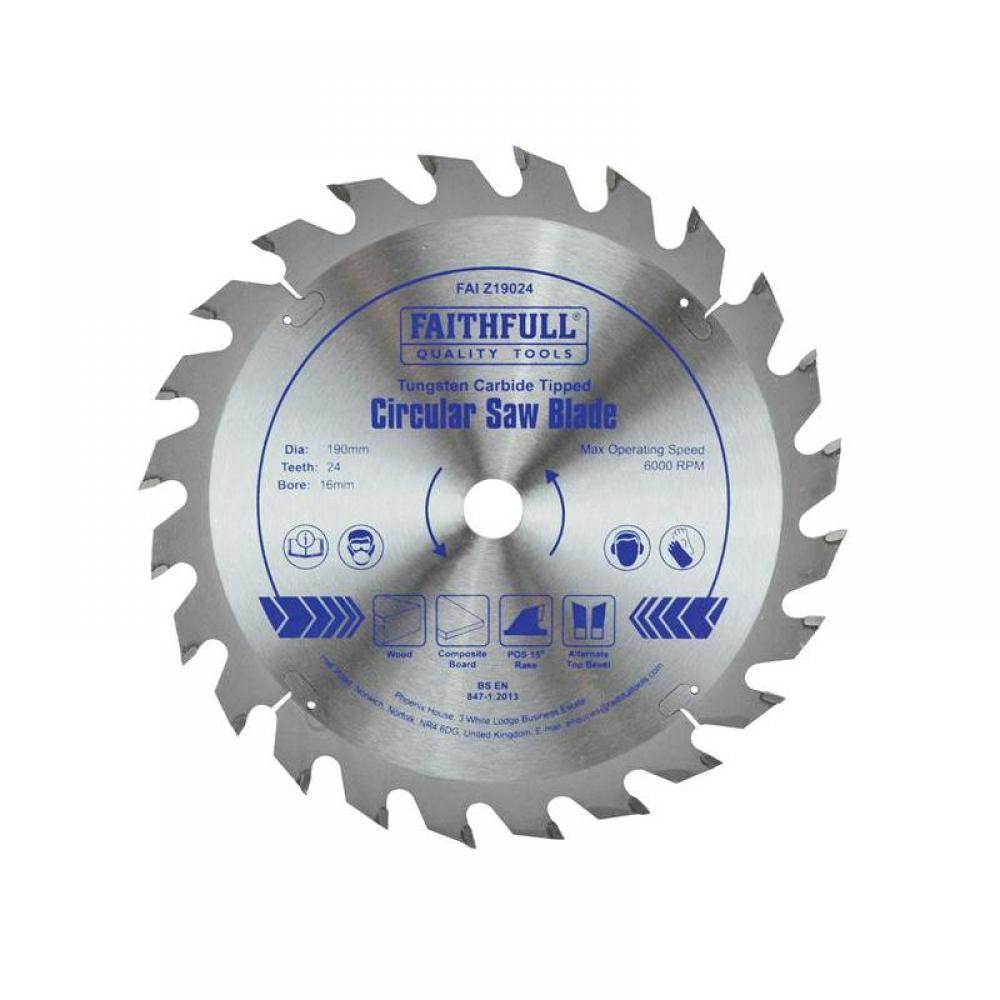 Faithfull TCT Circular Saw Blade 190 x 16mm x 24T POS