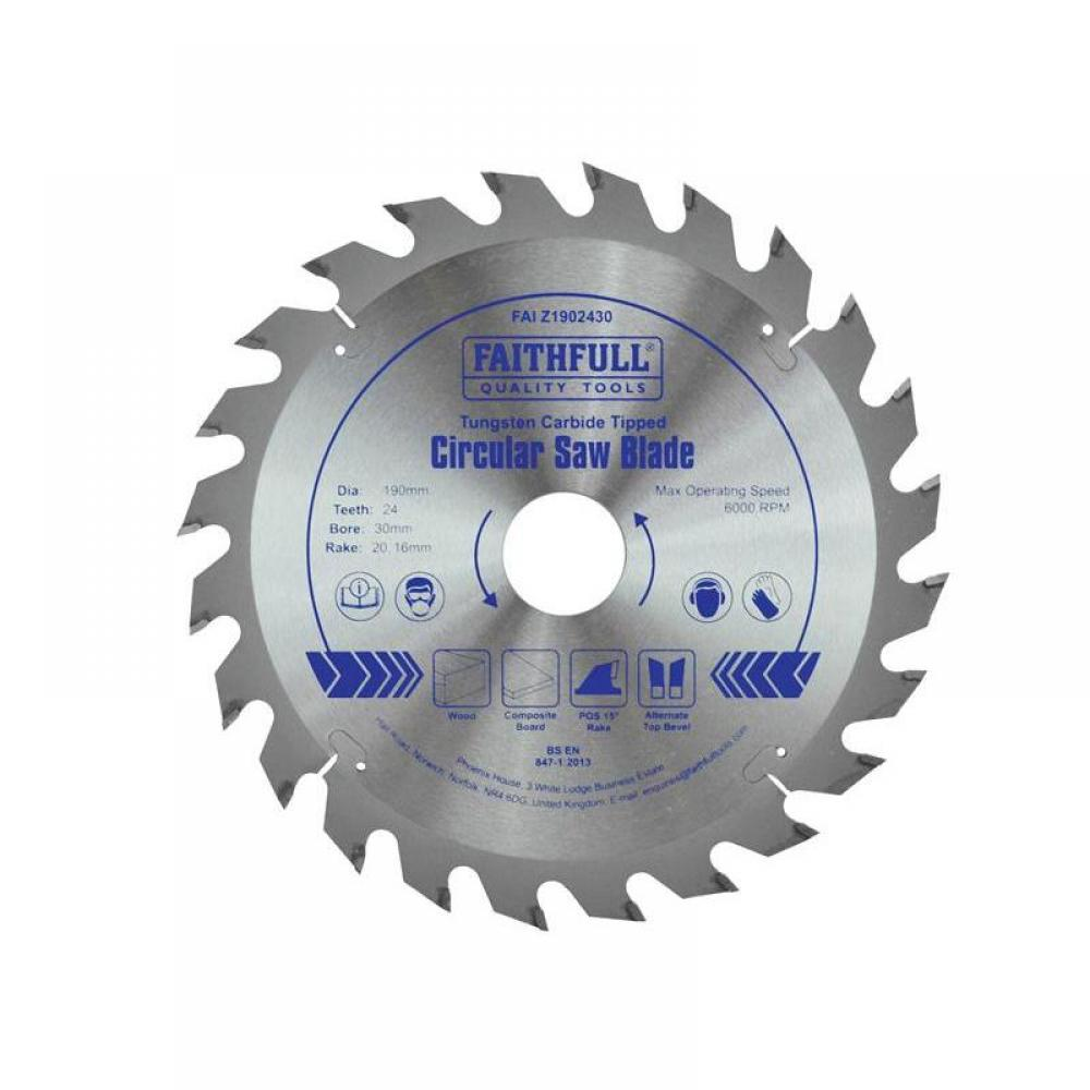Faithfull TCT Circular Saw Blade 190 x 30mm x 24T POS