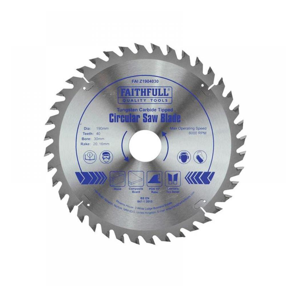 Faithfull TCT Circular Saw Blade 190 x 30mm x 40T POS