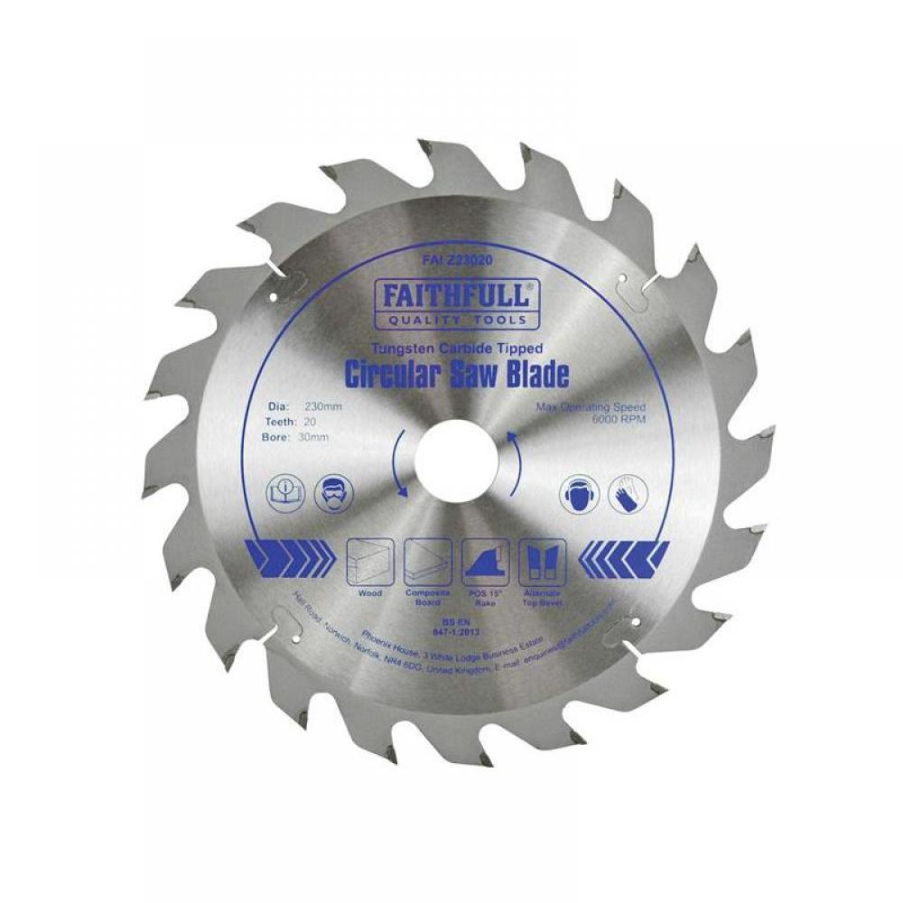 Faithfull TCT Circular Saw Blade 230 x 30mm x 20T POS