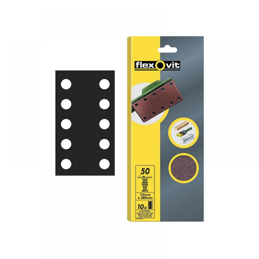 Flexovit 1/2 Sanding Sheets Perforated Fine 120 Grit (Pack 10)