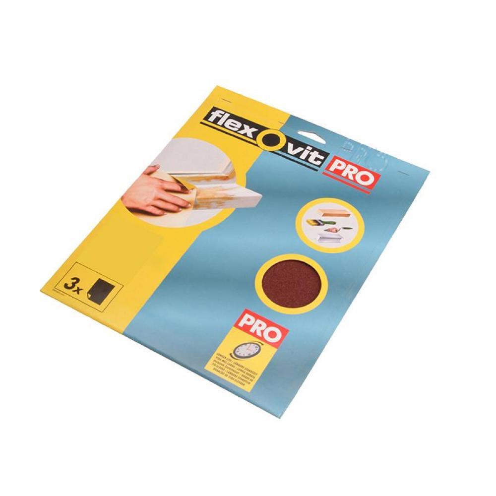 Flexovit Aluminium Oxide Sanding Sheets 230 x 280mm Fine 120G (3)