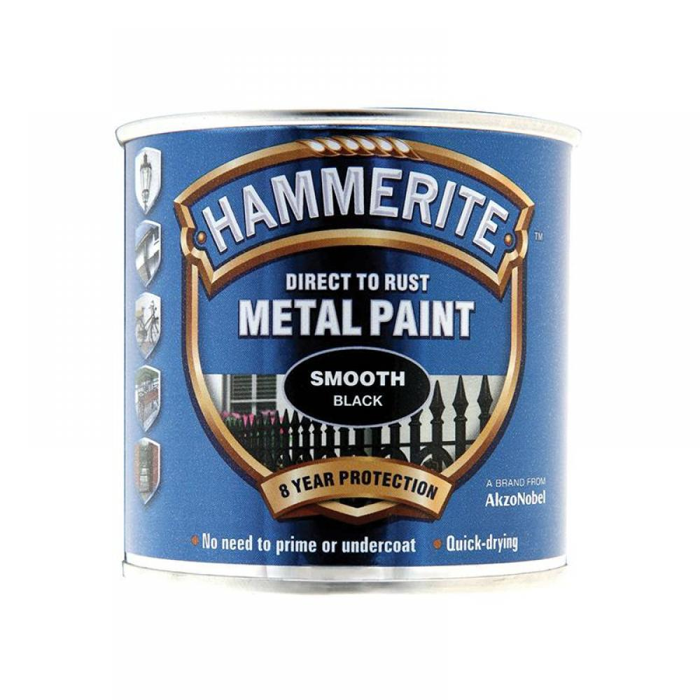 Hammerite Direct to Rust Smooth Finish Metal Paint Black 250ml