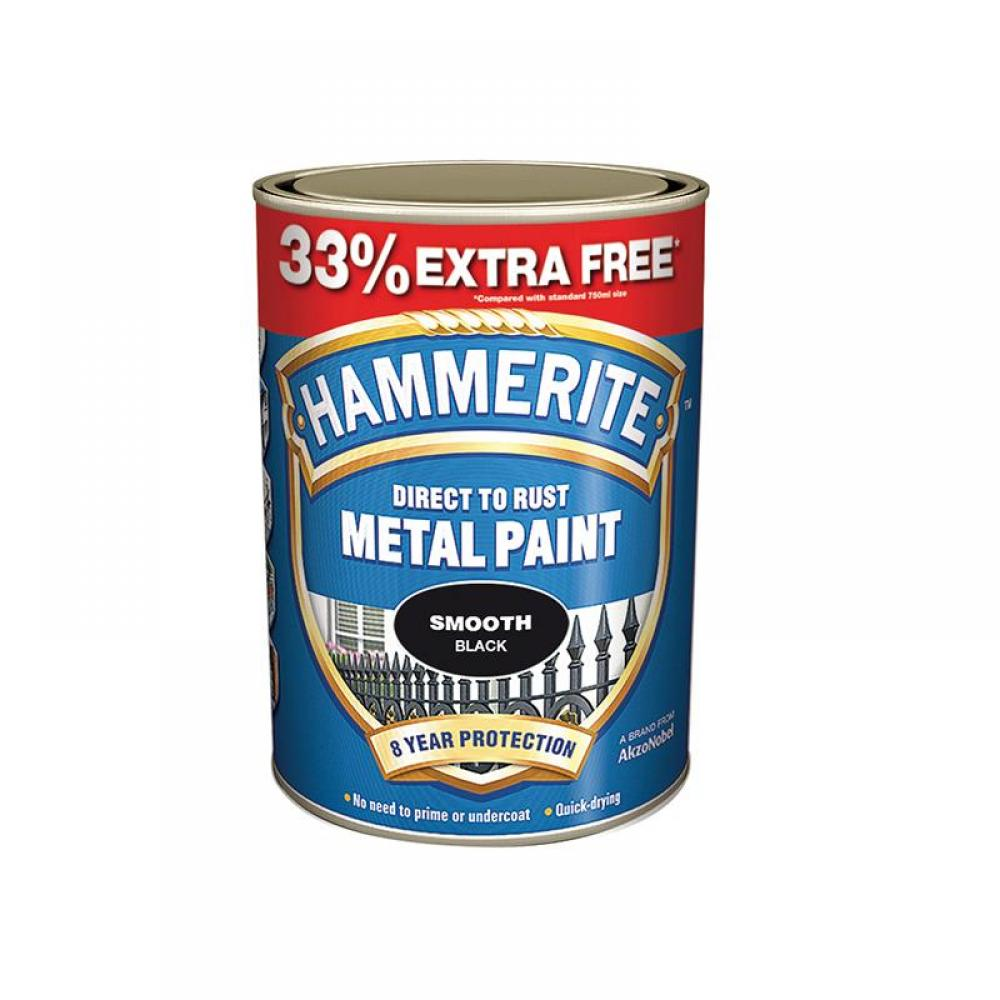 Hammerite Direct to Rust Smooth Finish Metal Paint Black 750ml + 33%