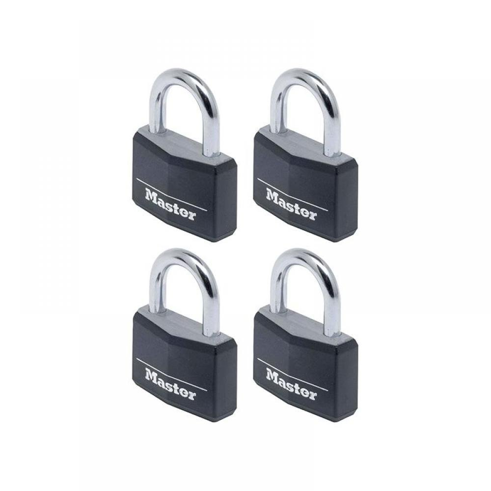 Master Lock Aluminium Black Vinyl Cover 40mm Padlock 4-Pin - Keyed Alike x 4