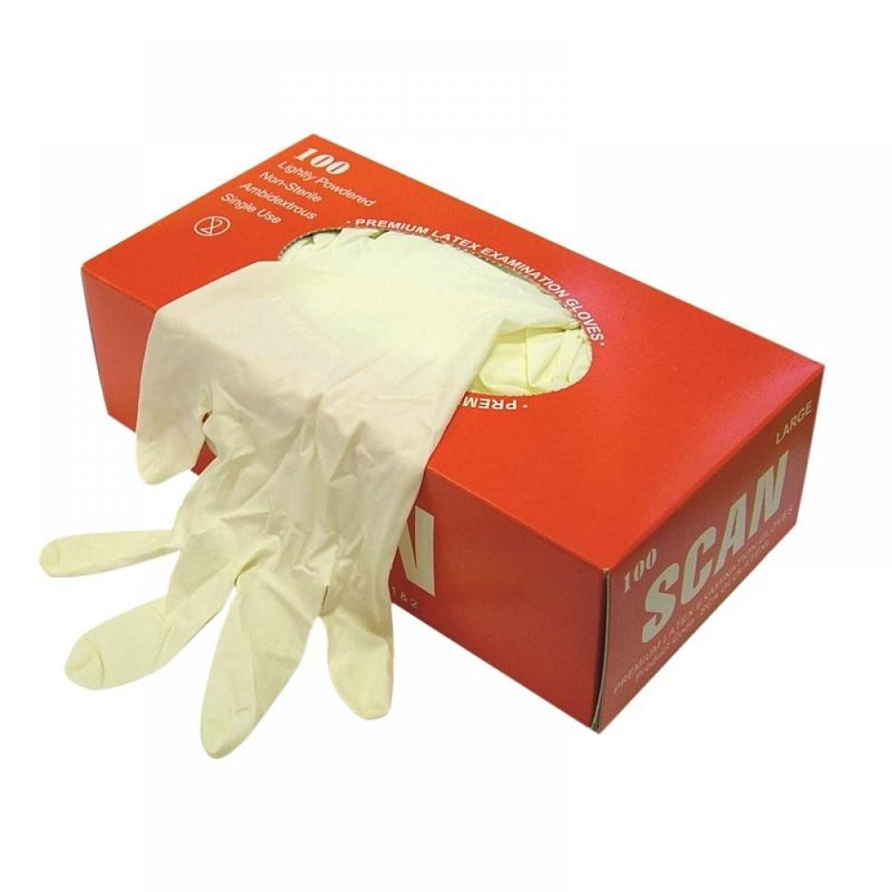 Scan Latex Examination Gloves - Medium (Box 100)