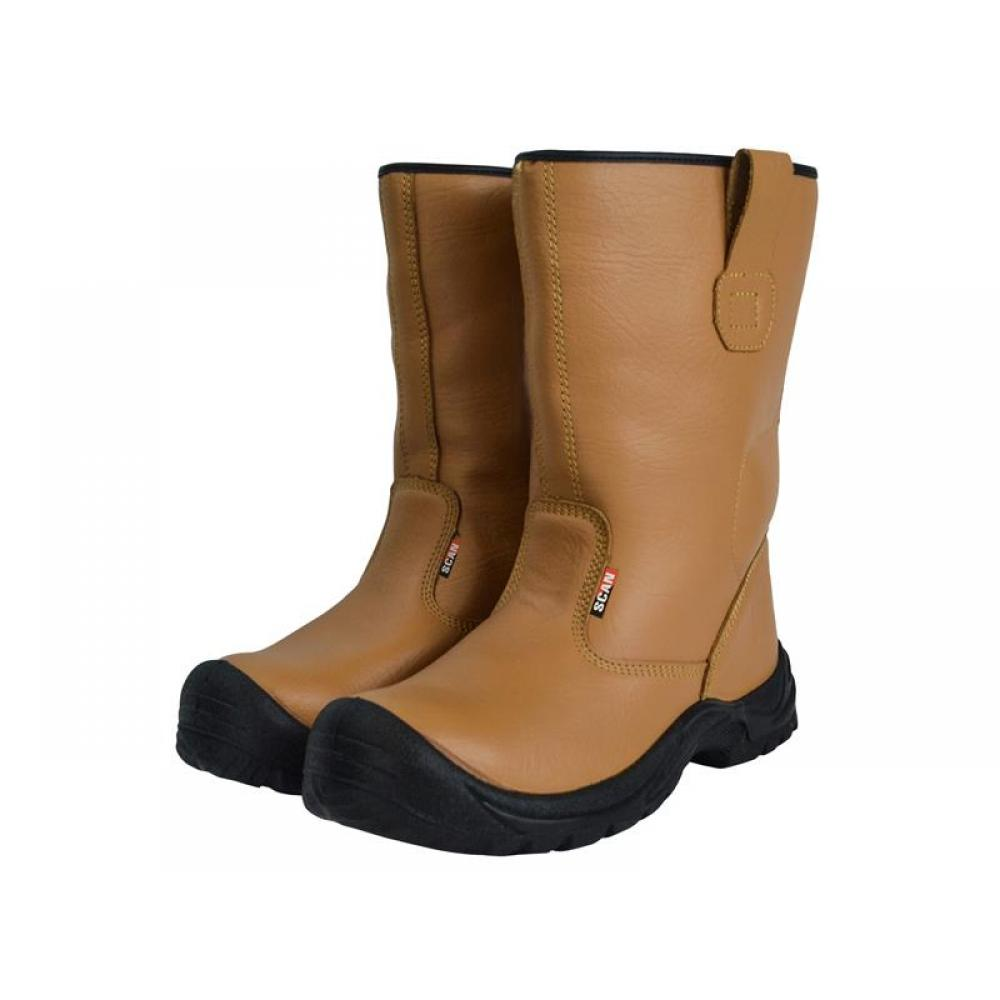 Scan Texas Lined Tan Rigger Boots UK 6 EUR 39