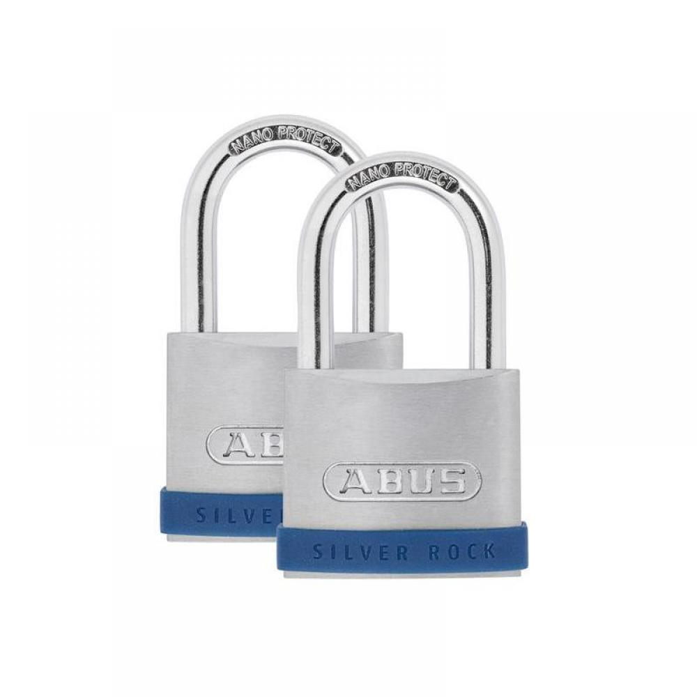 ABUS Mechanical 50mm Silver Rock 5 Padlock Twin Pack