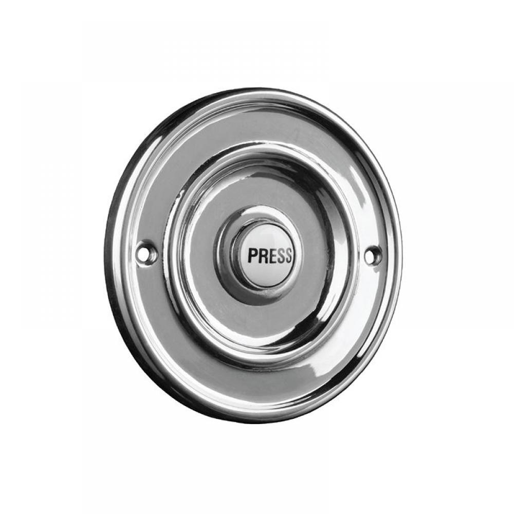 Byron 2207/P1BC Round Wired Bell Push Flush Mounted Chrome