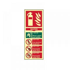 Scan Fire Extinguisher Composite Water - Photoluminescent 75 x 200mm