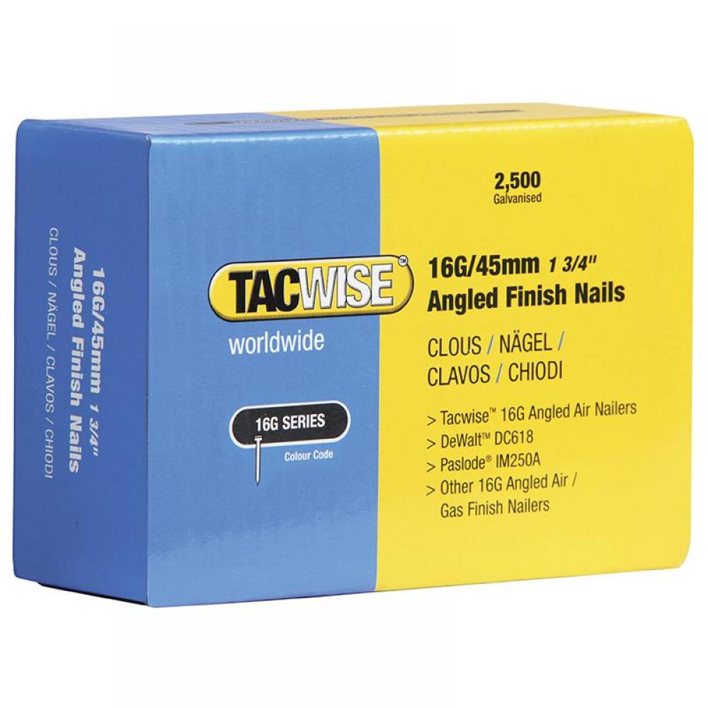 Tacwise 16 Gauge Angled Nails 50mm For DC618K Pack 2500